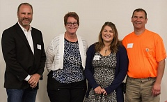 SUBMITTED PHOTO - Pictured from left, Mark Walter NECA Board President,  Laura Zentner, Anna Zentner (scholarship recipient) and Gregory Zentner.