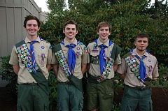 SUBMITTED PHOTO - Four Beaverton Boy Scouts, front left, Jacob Ingalls, Hamilton Beard, Kyle Blaich and Leon Mosley, recently received their Eagle Scout badge, the highest honor in Scouting.