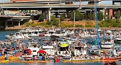 DAVID F. ASHTON - Too many boats and not enough channel. Boaters illegally blocked the Willamette River channel in front of the competition, causing the United States Coast Guard Harbormaster to shut down the Flugtag early. The Bruuns were not allowed to compete.