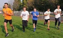 LON AUSTIN/CENTRAL OREGONIAN - From left, Sam Santiago, Liam Pickhardt, Reilly Connolly, Tyler Lawson and Connor Chaney run at a recent CCHS cross country practice. The five, along with Tanner Erickson and Noah Carmack, won the Tri-Valley League championship a year ago. With several newcomers, including Emmett Bailor and Noah Chaney, the Cowboys figure to be even stronger this year.