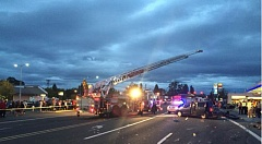 COURTESY OF TVF&R - At least seven people were injured, some seriously, in a seven-car crash Tuesday evening on the Tualatin Valley Highway near 185th Avenue.