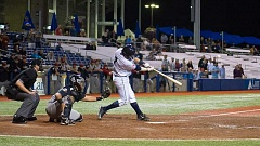 HILLSBORO TRIBUNE PHOTO: KENT FRASURE - Dansby Swanson rips a game-winning single to center field for the Hilllsboro Hops on Wednesday night at Ron Tonkin Field. The Hops knocked off Salem-Keizer 6-5 in 13 innings to take the Northwest League South Division series two games to one.
