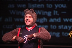PHOTO COURTESY: BUD NODURFT - James Sharinghousen plays the role of an intelligent squirrel in Wing It!, on Saturday, Oct. 3, in the Osterman Theatre at CCC.