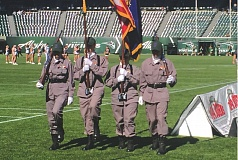 CONTRIBUTED PHOTO - Gresham resident Erica Salazar (second from right) joined fellow Oregon National Guard Youth ChalleNGe Program cadets to present the colors before the Portland State University football game Saturday, Sept. 26, at Providence Park in Porland.