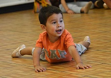 REVIEW PHOTOS: VERN UYETAKE - 5. Sanchez Xavier, 3, has fun taking a dance class during last weeks Parks & Rec open house at Palisades Elementary School.