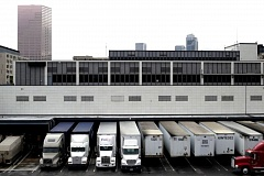 PORTLAND TRIBUNE: JONATHAN HOUSE - Trucks currently load and unload mail at the dock of the Pearl Post office.