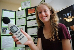 SPOKESMAN PHOTO: VERN UYETAKE - Wood Middle School eighth-grader Camryn Pettenger-Willey shows off a decibel reader, one of the tools she used for her project.