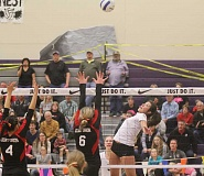 JEFF WILSON/THE PIONEER - Culver's Jenny Vega goes up for a kill against Grant Union during a semifinal match Friday night in the 2A state volleyball tournament. The No. 2 Bulldogs won in four sets and will face top-seeded Burns at 8:30 p.m. Saturday in the championship match.