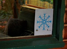POST PHOTO: KYLIE WRAY - Look for this snowflake displayed in the windows of businesses to indicate who is participating in the Mt. Hood Area Chamber of Commerces special winter promotion.