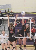 JEFF WILSON/THE PIONEER - Lynze Schonneker puts away a kill during Friday's opening match against Weston-McEwen.