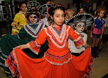 SPOKESMAN PHOTO: VERN UYETAKE - Sagrario Evelny Tapia Loeza gets ready to perform a traditional Mexican dance.