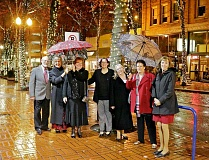 Friends of Historic Forest Grove members attended the Restore Oregon gala in downtown Portland Friday, Nov. 13, where the A.T. Smith House was among eight sites added to a statewide Most Endangered Properties list. There to celebrate the attention were (L-R) Tom Carlson, who wrote most of the application for designation, Diane Morris, Melody Haveluck, Cherie Savoie Tintary, Mary Jo Morelli, Amy Weston and Ginny Carlson.