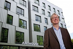 TRIBUNE FILE PHOTO - Pacific Northwest College of Art President Tom Manley stands outside the ArtHouse student residence hall on the North Park Blocks. Manlet leaves Dec. 31 2105 for Antioch College after 12 years in Portland.