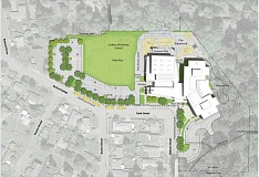 SUBMITTED PHOTO - The design WL-WV presented to the Sunset Neighborhood Association in September (pictured above) included a larger parking lot at the south side of the property and didn't include a storm water retention pond necessary to the site.