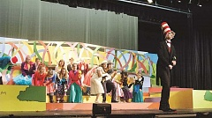 ESTACADA NEWS PHOTO: EMILY LINDSTRAND - As the Cat in the Hat, Zach Frunk leads the audience through this collection of Dr. Seuss stories.