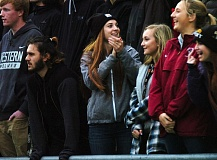 DAN BROOD - Tualatin High School senior Abbey Anderson, a former Timberwolf soccer star, watched Saturday's state title match, with her Tualatin classmates, from the grandstands.