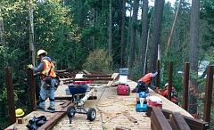 COURTESY OF THE CITY OF TUALATIN - Work crews are building a wide boardwalk that will make up a section of the Greenway Trail in between Interstate 5 and the former RV Park of Portland.