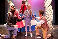 TIMES PHOTO: JAIME VALDEZ - The cast from Tigard High School rehearses for its upcoming play, 'A Midsummer Nights Dream' by William Shakespeare. Pictured from left; Luke Hulquist, Lysander, Tiara Comstock, Hermia, Zander Eisenhauer, Oberon, top, Kendal Otness, Helena, and Jacob Stollberg as Demetrius.