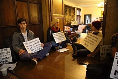 COURTESY OF BARRYGLASSDOOR.COM - Lewis & Clark College students held a sit-in Tuesday, Nov. 24, in the rooms outside the college president's office to demand changes in curriculum and programs. The sit in came just days after a black student said he was assaulted on campus by three white men.