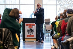 TIMES PHOTO: JONATHAN HOUSE - Oregon senator Jeff Merkley answers a question during a townhall at Beaverton High.