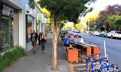 COURTESY: PORTLAND BUREAU OF TRANSPORTATION - The Street Seat at Bamboo Sushi, 1409 N.E. Alberta St., was installed this summer and designed by Propel Studio. Street Seats have become popular on Northeast Alberta; they're also installed at Tin Shed Garden Cafe, Enzo's Caffe Italiano and Vita Cafe.