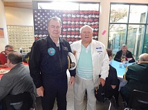 BARBARA SHERMAN - Summerfield veterans Joe Adams (left) and Joe Doyon attended the THS veterans' event and enjoyed talking to the students.
