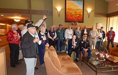 BARBARA SHERMAN - Summerfield veterans who came to a Nov. 11 event at the Clubhouse shared some amazing war stories over cofffee.