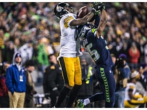 TRIBUNE PHOTO: MICHAEL WORKMAN - Late in Sunday's game at Seattle, defensive back DeShawn Shead from Portland State breaks up a pass intended for Pittsburgh's Martavis Bryant, leading to an interception by Seattles Kam Chancellor.