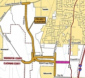 COURTESY OF THE CITY OF TUALATIN - A map shows, in orange, the planned extension of Southwest 124th Avenue, construction of Basalt Creek Parkway, and expansion of Tonquin and Grahams Ferry Roads, and in magenta, the planned extension of Basalt Creek Parkway. Construction work is expected to take place over the course of the next several years.