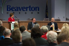 TIMES PHOTO: JONATHAN HOUSE - Oregon Deputy Superintendent Salam Noor (right) speaks about the Every Student Succeeds Act at an education briefing in the Beaverton council chambers Tuesday, alongside U.S. Rep. Suzanne Bonamici (left) and Acting Oregon Chief Education Officer Lindsey Capps.