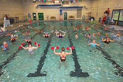 SUBMITTED PHOTO - Aquatic exercise classes are popular in the warm waters of Harman Swim Center, which reopens Monday following two months of renovations and a special open house and swim session on Sunday afternoon.