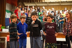 TIMES PHOTO: ADAM WICKHAM - Fourth-grade students at Edward Byrom Elementary School stage an afternoon performance of 'To the West We Go' last Thursday.