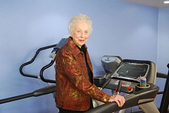 FILE - Floetta Ide stands on the treadmill in Legacy Meridian Park Medical Center's cardiac rehab gym in 2013, which she walked on for 15 minutes Wednesday to kick off a 24-hour fundraiser at the hospital for cardiac rehab patients.