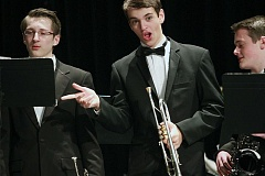TIMES PHOTO: MILES VANCE - Beaverton High trumpet player Riley White gets ready to perform with the Jazz Band at BHS WInter Concert on Tuesday night.