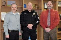 MPD - L-R: Molalla Police Chief Rod Lucich, Sgt. Frank Schoenfeld, and City Manager Dan Huff.  Schoenfeld fills a slot  on the force that has been vacant for nearly a year.
