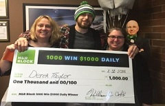 SUBMITTED - From left Gladstone H&R Block Office Manager Angela Bierman, Derek Taylor and Michel Thorsteinson.