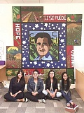 SUBMITTTED - Four students from the Baker Prairie Middle School Latino leadership group helped create a four-panel art display honoring farmwork activist Ceasar Chavez. Those students were (from left to right) Carla McMahon (program facilitator), Yocelin Ulloa Perez, Fatima Timalach and Yessica Paz Sanchez.