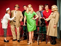 AL STEWART PHOTOGRAPHY, TUALATIN - The cast of 'Catch Me If You Can' includes (from left) Diana LoVerso, Fred Cooprider, Mark Putnam, Jayne Furlong, Ben Philip, Ted Schroeder and Rebecca Raccanelli.