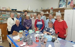 BARBARA SHERMAN - King City Ceramics Club members (standing from left) include Nancy Duthrie, Bonnie Babbitt, Carleen Simmering, Nicky Kenney, Marie VanderWeele, Jean Heckler, Joan Norris, Roberta Wiens, Elaine Gelfand and Lynn Wolfe; seated are Jerry Wiens and Pat Boyd.