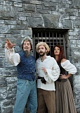 SUBMITTED PHOTO: TRIUMPH PHOTOS  - Pictured are, from left, Pam Mahon as Aldonza the alluring tavern maid, Leif Norby, in the dual role of Cervantes and Don Quixote and Joey Cote, as Sancho Panza, his faithful manservant in Man of LaMancha opening April 29 at Lakewood Center for the Arts.