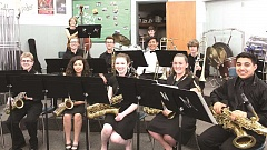 LINDSAY KEEFER - The jazz band consists of (Front row, from left) Cole Younger (10th grade), Sarah Estrada (12th grade), Abby Hughes (10th grade), Jessyca Allen (11th grade), Jonathan Sanchez (11th grade), (second row, from left) Sebastian Powers-Leach (11th grade), Justin Hanson (11th grade), Leo Duarte (ninth grade), Cody Langshaw (ninth grade), (back row) Cameron Leggett (ninth grade), Logan Gianella (10th grade), (not pictured) Josh Benson (12th grade), Roman Downey (12th grade), Sam Garcia (ninth grade), Josiah Ramon (12th grade) and Mikayla Golka (10th grade).