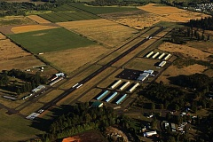 PORT OF ST. HELENS PHOTO - An aerial view of Scappoose Industrial Airpark shows the area that could be poised for a new Advanced Manufacturing Research Center developed by Portland Community College. Land at the airport has long been eyed for future industrial growth.