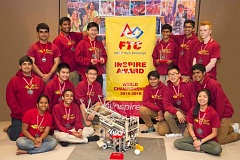 SUBMITTED PHOTO - Hot Wired Robotics, made up of Beaverton-area high school students, captured the coveted Inspire Award at the FIRST Tech Challenge World Championships. Team members are (back row, left to right) Varun Gopinatth, Prashanth Gopinatth, Robin Tan, Pratheek Makineni, Alex Tharappel and Adam Barton; (middle row) Bharath Namboothiry, Bradley Wang, Justin Bao, Rahul Reddy, Alex Yao and Gokul Kolady; and (sitting) Neha Nagabothu, Advaith Nair and Elaine Yang.