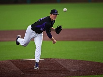 COURTESY: STEVEN GIBBONS - Jackson Lockwood's pitching helped the Portland Pilots knock off Oregon State on Monday at Volcanoes Stadium in Keizer.