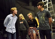 REVIEW PHOTO: VERN UYETAKE - Harpagon (Riley Watkins), the titular character of 'The Miser,' reams out the members of his household during a rehearsal. From left: Lakeridge students Penelope Tharp, Lily Crisp and Ben Drury.