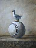 SUBMITTED PHOTO - Lake Oswego artist Beth Sautter is exhibiting her art at Trainers Club during the month of April. This piece is titled Fowl Ball.