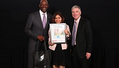 TIMES PHOTO: JAIME VALDEZ - The Beaverton-areas Amazing Kid, Coral Lara Rizo of Aloha, had a moment in the spotlight Monday with Trail Blazers great Terry Porter and Mark Garber, president of Pamplin Media Group.