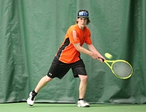 JIM BESEDA/MOLALLA PIONEER - Molalla's Emmett Copher finished as the runner-up in boys' singles at the Special District 2 tennis championships at Portland Tennis Center.