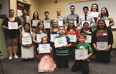 INDEPENDENT PHOTO: TYLER FRANCKE - The nominees were (back row, from left) Emma Bustamante, Cristian Cortes Cortes, Laura Grigorieff, Colby Gianella, Brad Morris, Hernan Chávez, Rafael Vasquez, Louisa VanSmorrenburg, Stephanie Aguirre Cerriteno, (middle row) Guadalupe Lopez-Montesinos, Chevelle Davis, Mikayla Golka, Olivia Palacios, Veronica Melo Najera, Diana Sanchez Manzo, and (front row) Aubrie Hetland, Brandon Martinez and Isaac Freitas. Not pictured: Vanessa Reyes.