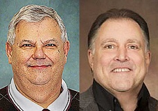 NEWBERG GRAPHIC ILLUSTRATION - Although Allen Springer (right) received the majority of votes in Newberg and Dundee, Rick Olson was ultimately elected Yamhill County Commissioner during the May 17 primary.